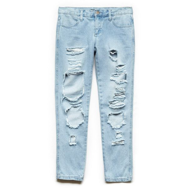 Forever 21 Street Chic Destroyed Jeans (€22) ❤ liked on Polyvore featuring jeans, bottoms, pants, destructed jeans, blue ripped jeans, zipper jeans, distressed jeans and destroyed jeans