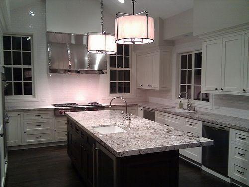 White Kitchen Espresso Island white kitchen, espresso island, bianco antico granite. island must