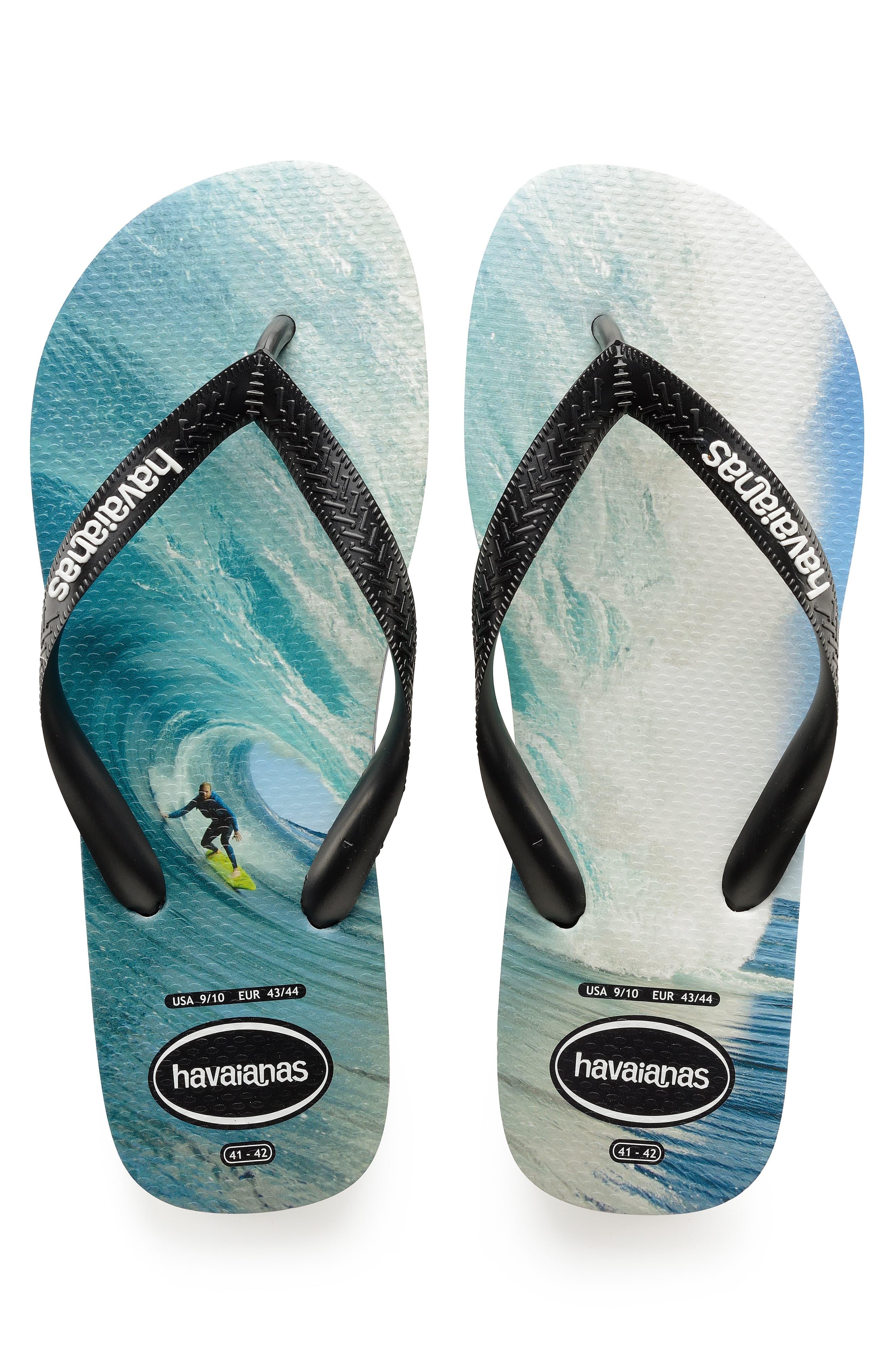 havaianas flip flops black and blue
