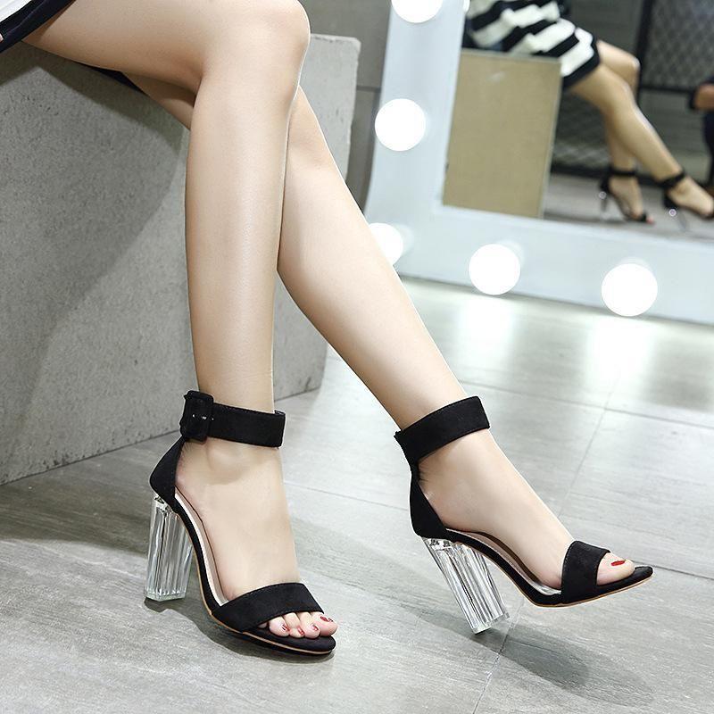 Hasp Ankle Wrap Transparent Heels High
