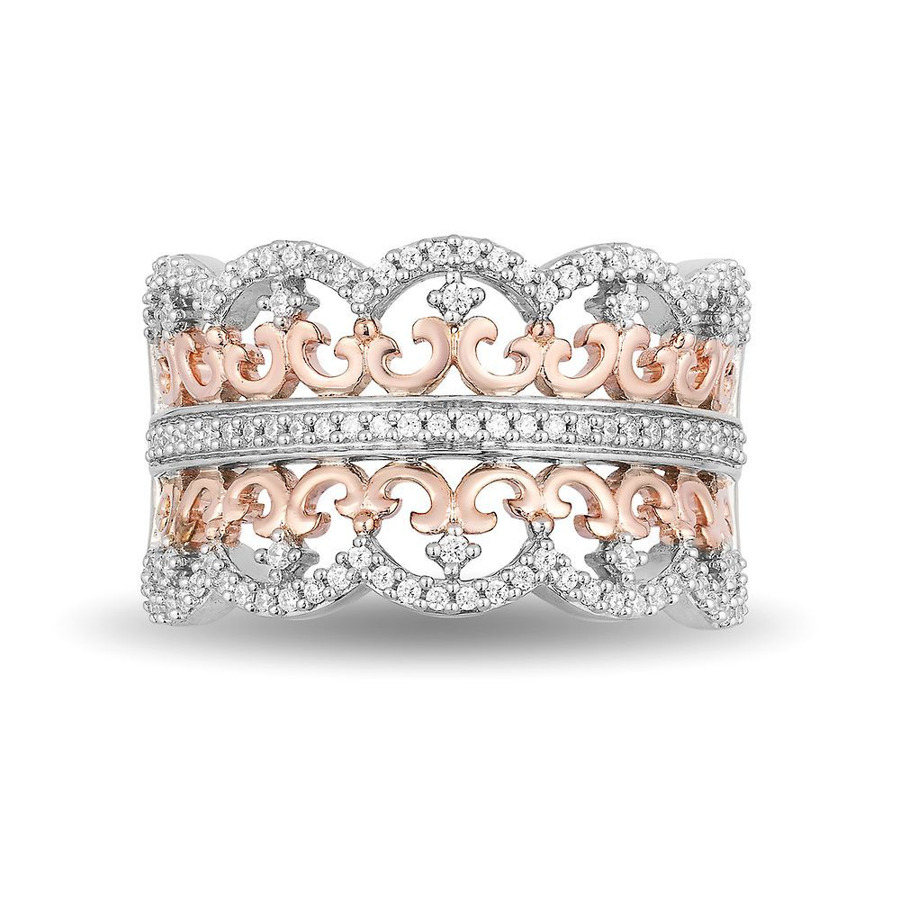 Sterling Silver And 10K Rose Gold Princess Ring With 112