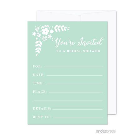 Floral mint green wedding blank bridal shower invitations with floral mint green wedding blank bridal shower invitations with envelopes 20 pack weddings filmwisefo Choice Image