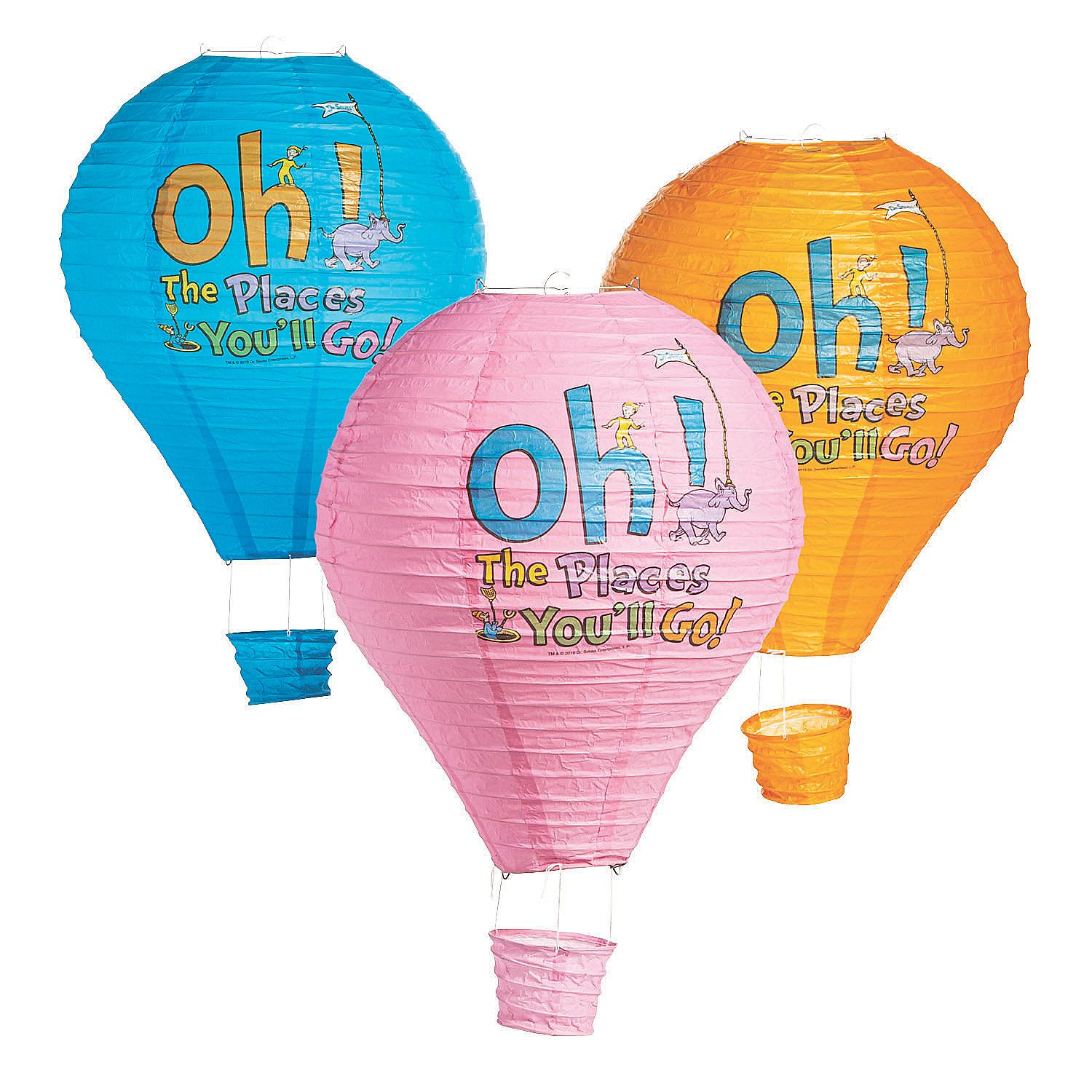 Dr Seuss™ Oh, the Places You'll Go Hot Air Balloon Hanging Lanterns | Oriental Trading