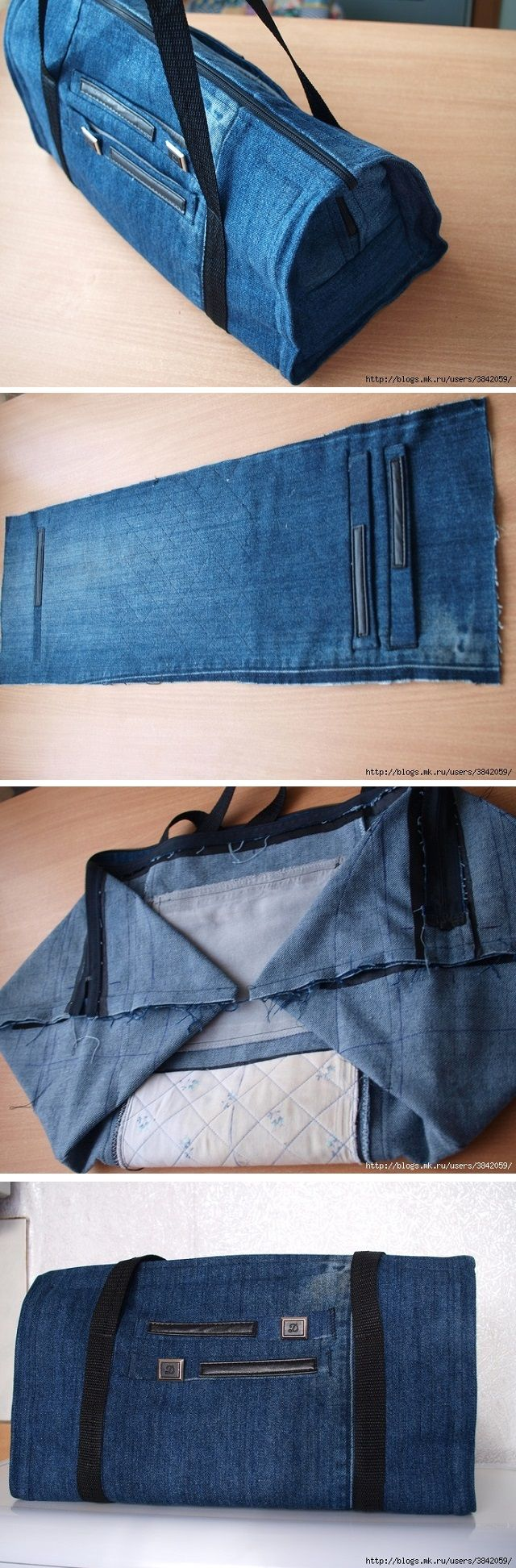 Ways to recycle old jeans - Recycle Old Jeans Into A Beautiful Zippered Bag
