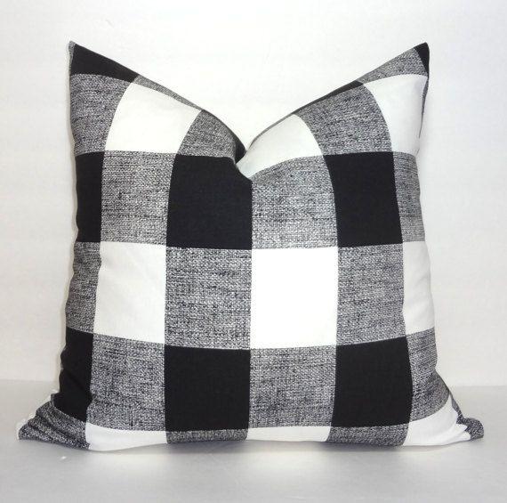 Black And White Buffalo Check Pillow Buffalo Plaid Fabric Checked Cushions Buffalo Check Pillows Plaid Pillow Covers