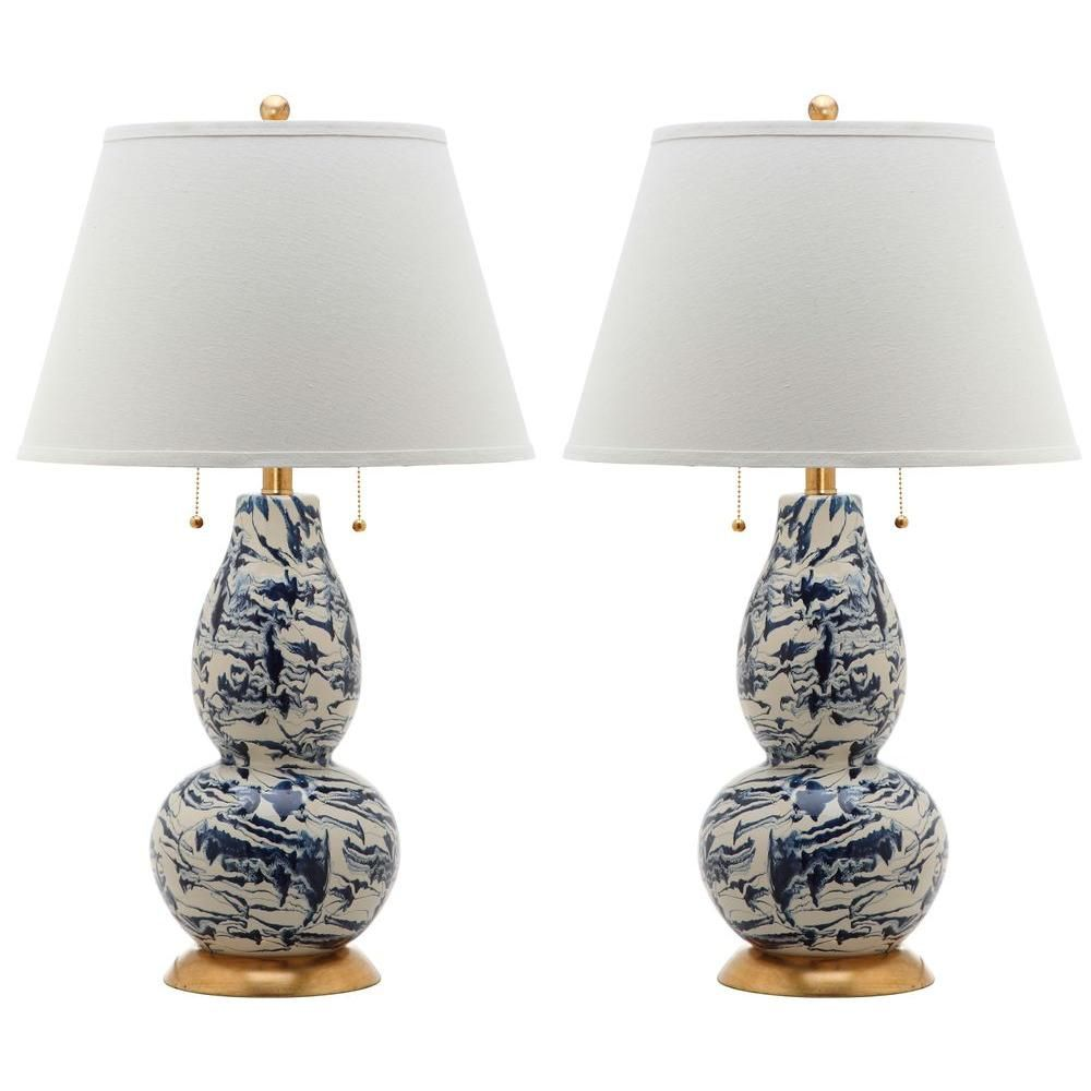 Safavieh Color 28 5 In Navy And White Swirls Glass Table Lamp Set Of 2 Lit4159a Set2 At The Home Depot Glass Table Lamp Table Lamp Sets Lamp Sets