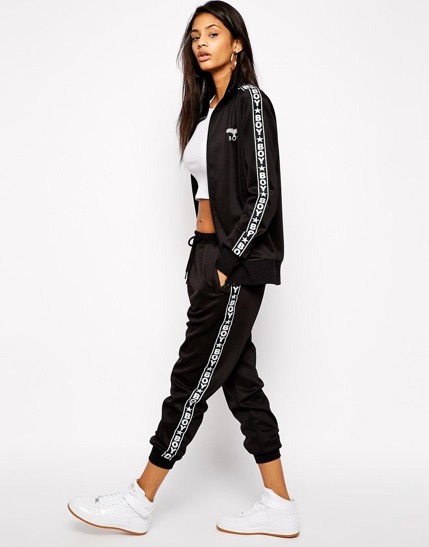 Image 4 Of Boy London Zip Front Tracksuit Top With Tape Detail Co Ord Tracksuit Diva