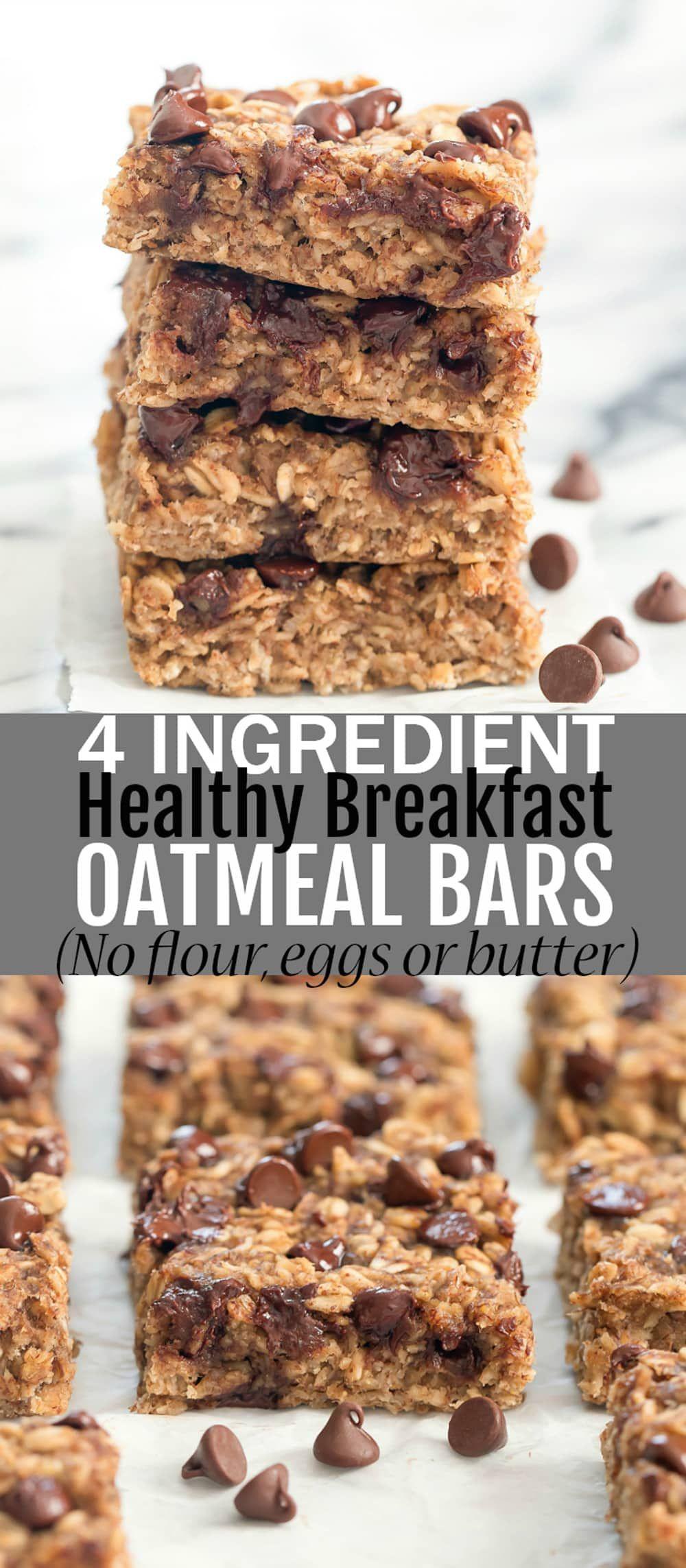 4 Ingredient Healthy Oatmeal Breakfast Bars
