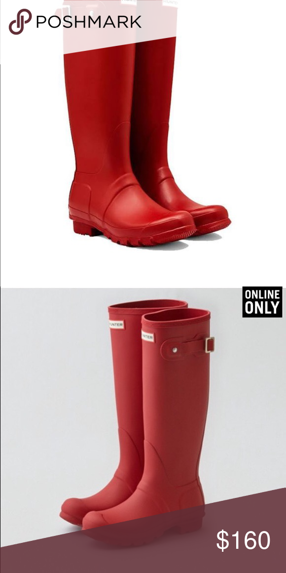 MATTE RED SIZE 8 HUNTER BOOTS BRAND NEW IN BOX ! Hunter