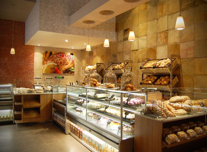 I know this is not what this picture is of but plywood for Bakery interior design