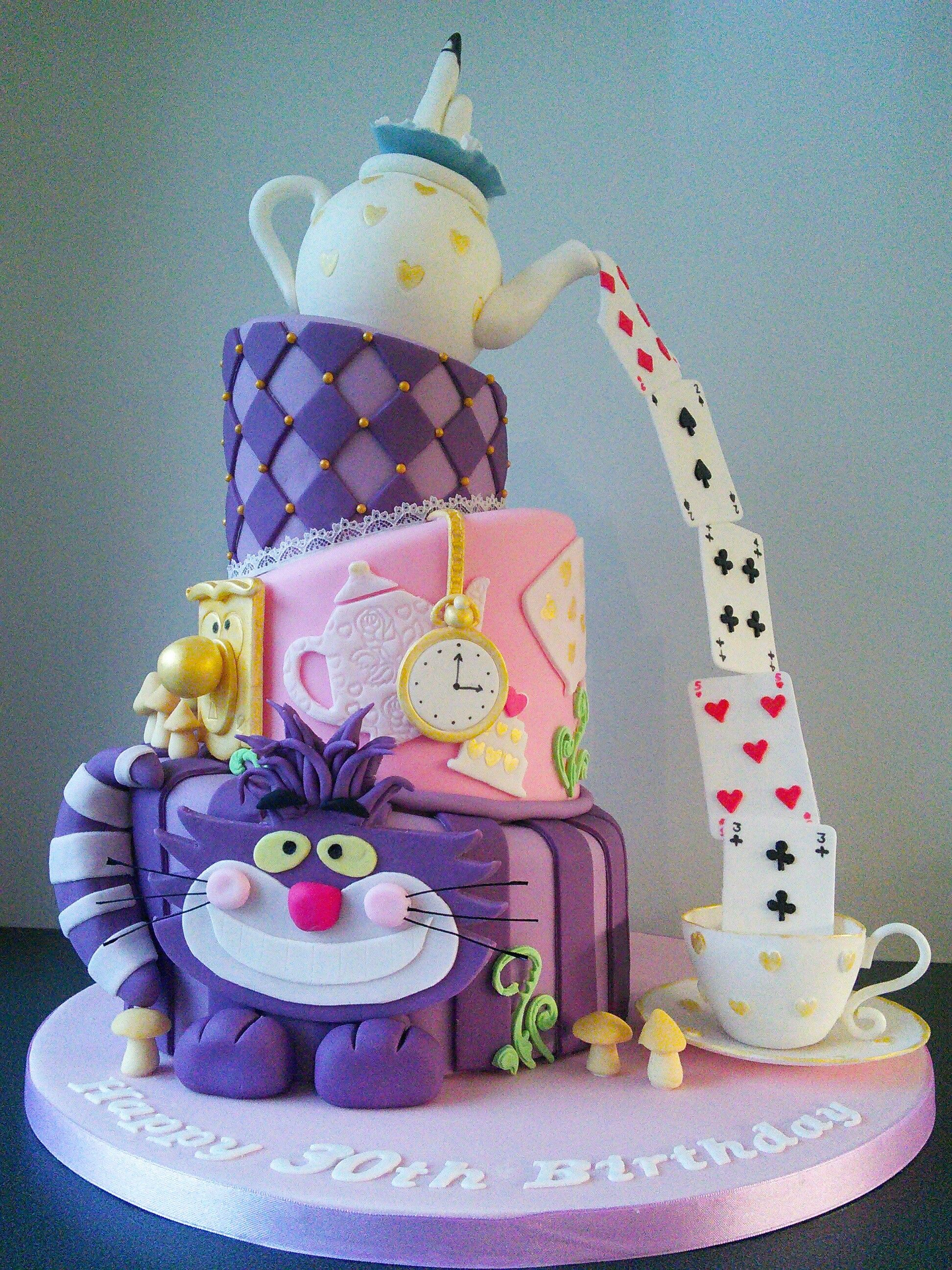 Mad Hatters Tea Party 30th Birthday Cake With Cheshire Cake Pouring