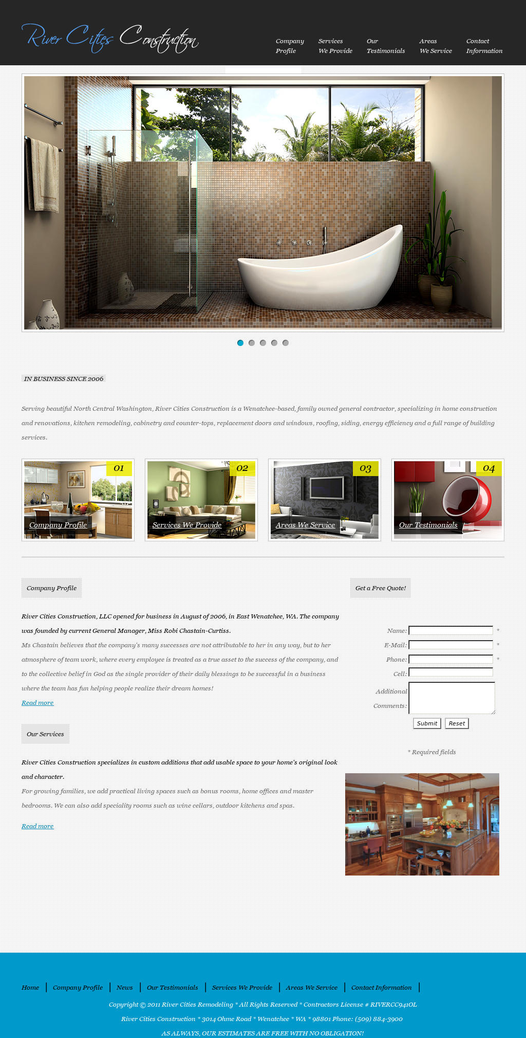 Website Example for Home Remodeling Company in Washington