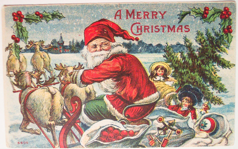 Stockgraphicsvintagesantachristmaspostcards340 Vintage Christmas Cards Christmas Postcard Christmas Card Images