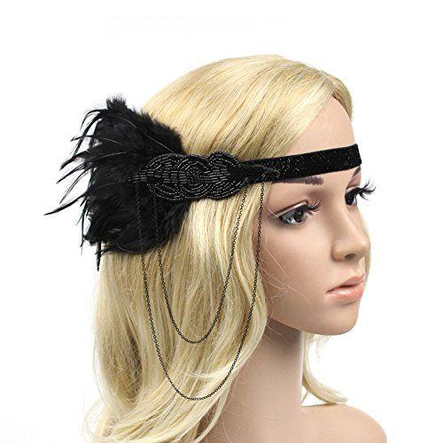 ec1500487ea26 Queenestar Feather Headband Vintage 1920s Flapper Great Gatsby Fringe Chain  Hairband (Black)