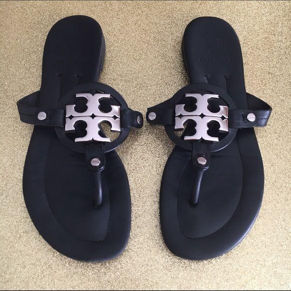 ee0f52d5839134 Tory burch miller sandals Black Matte Silver