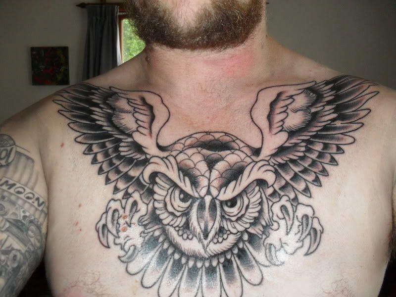 owl tattoo cheast piece