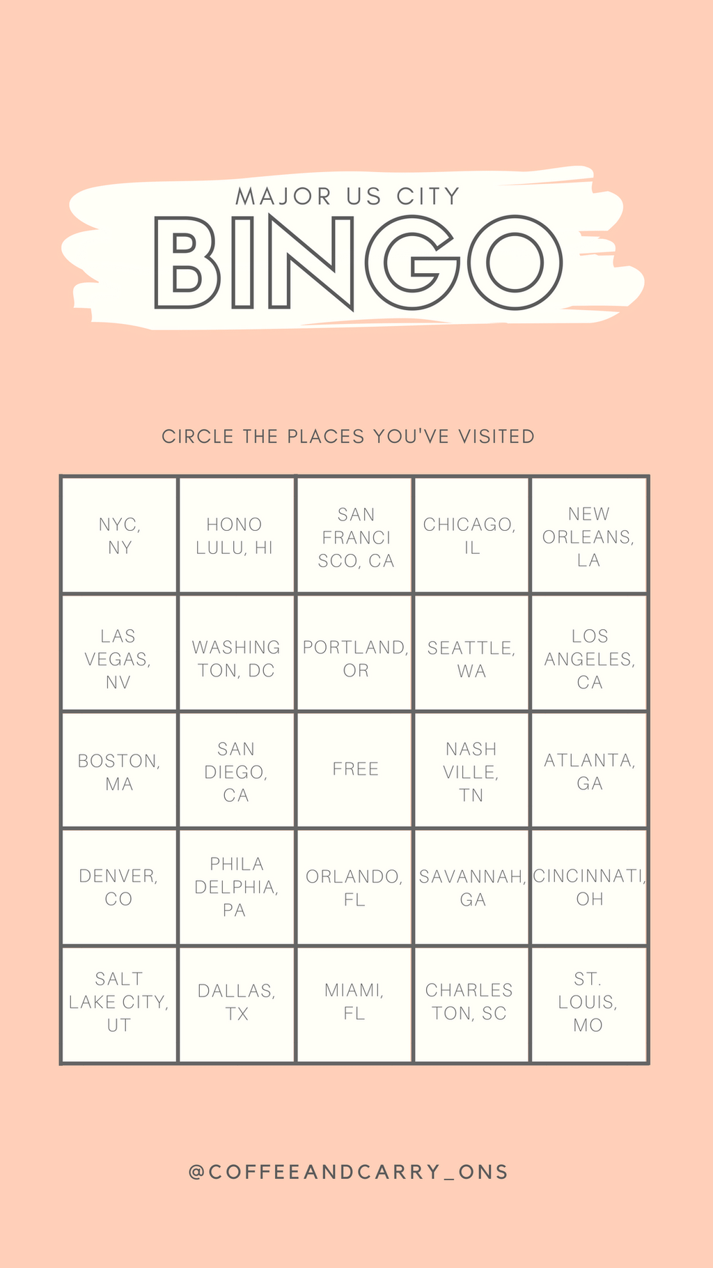 Major US city bingo Instagram story template Bingo