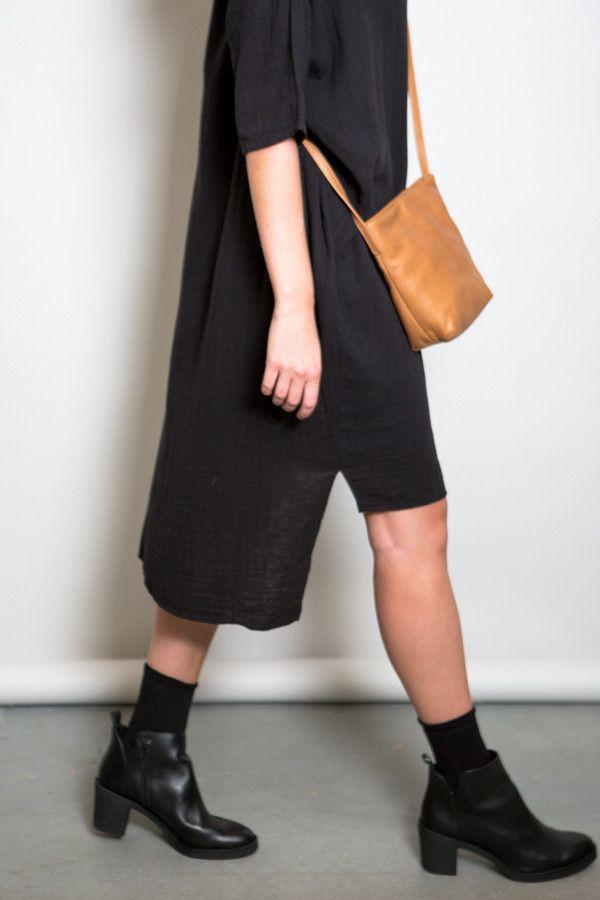Oak Black Wide Gauze Dress – Parc