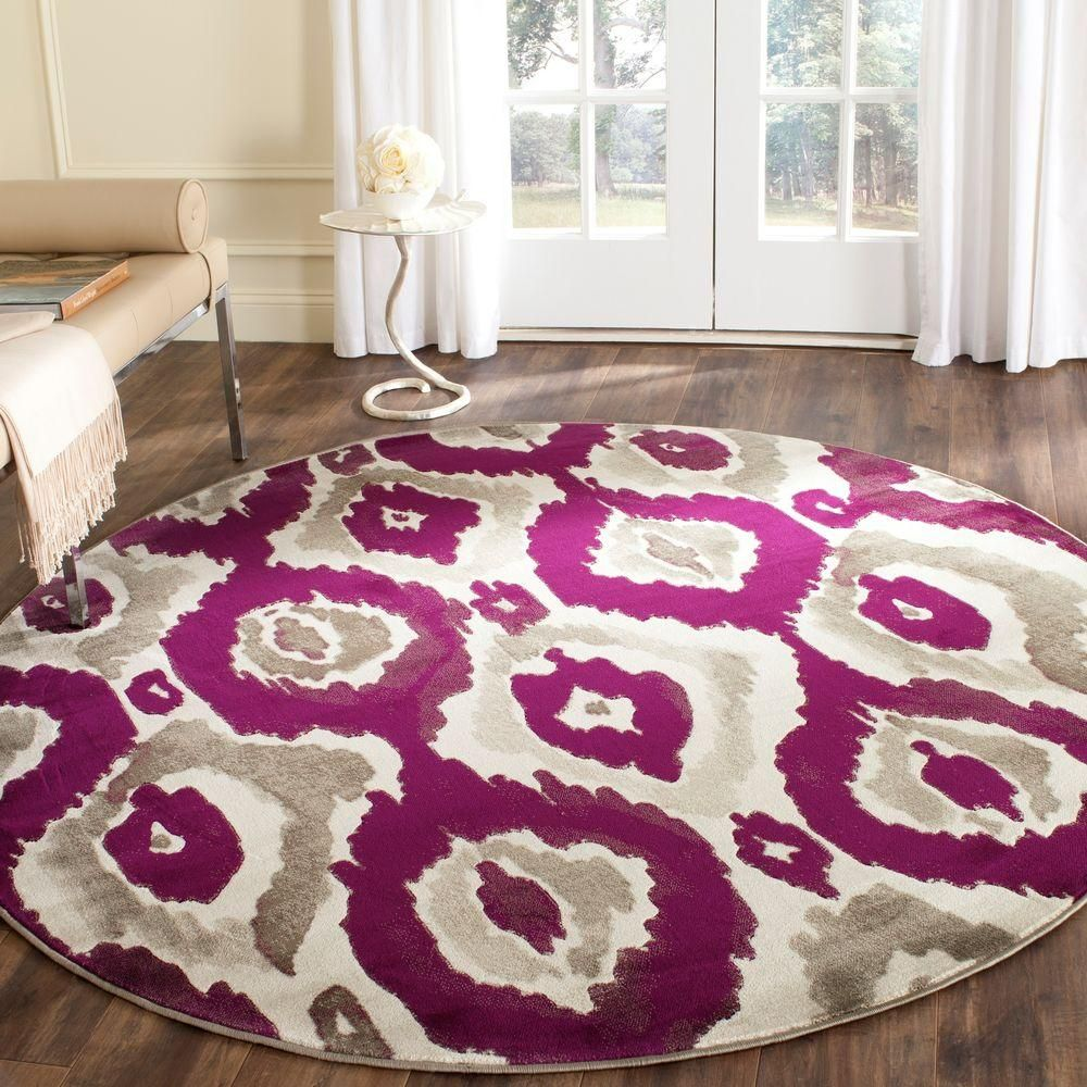 Safavieh Porcello Ivory Purple 7 Ft X 7 Ft Round Area Rug