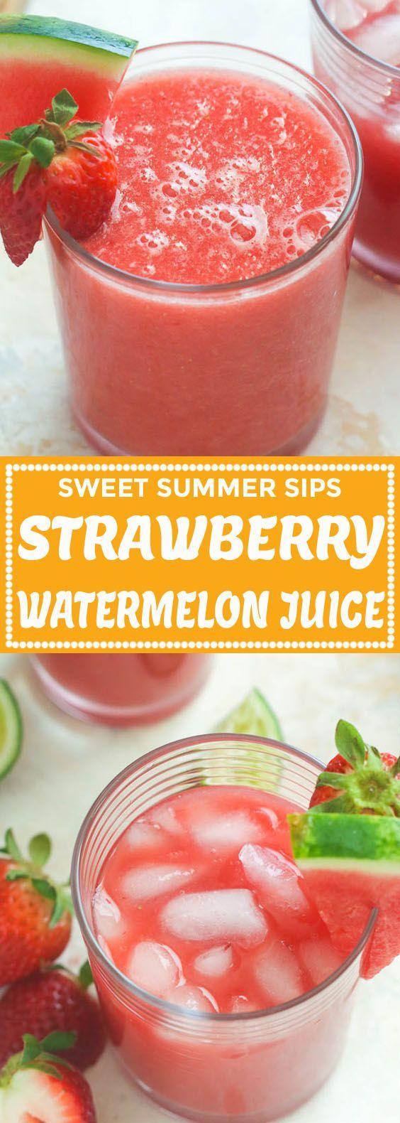 Strawberry Watermelon Juice In 2020 Strawberry Watermelon Watermelon Juice Recipes