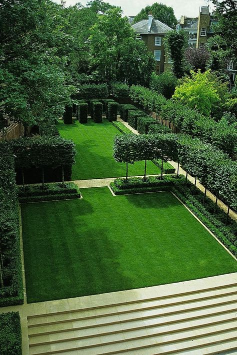 how the pleached trees traverse the L shape into the divide between