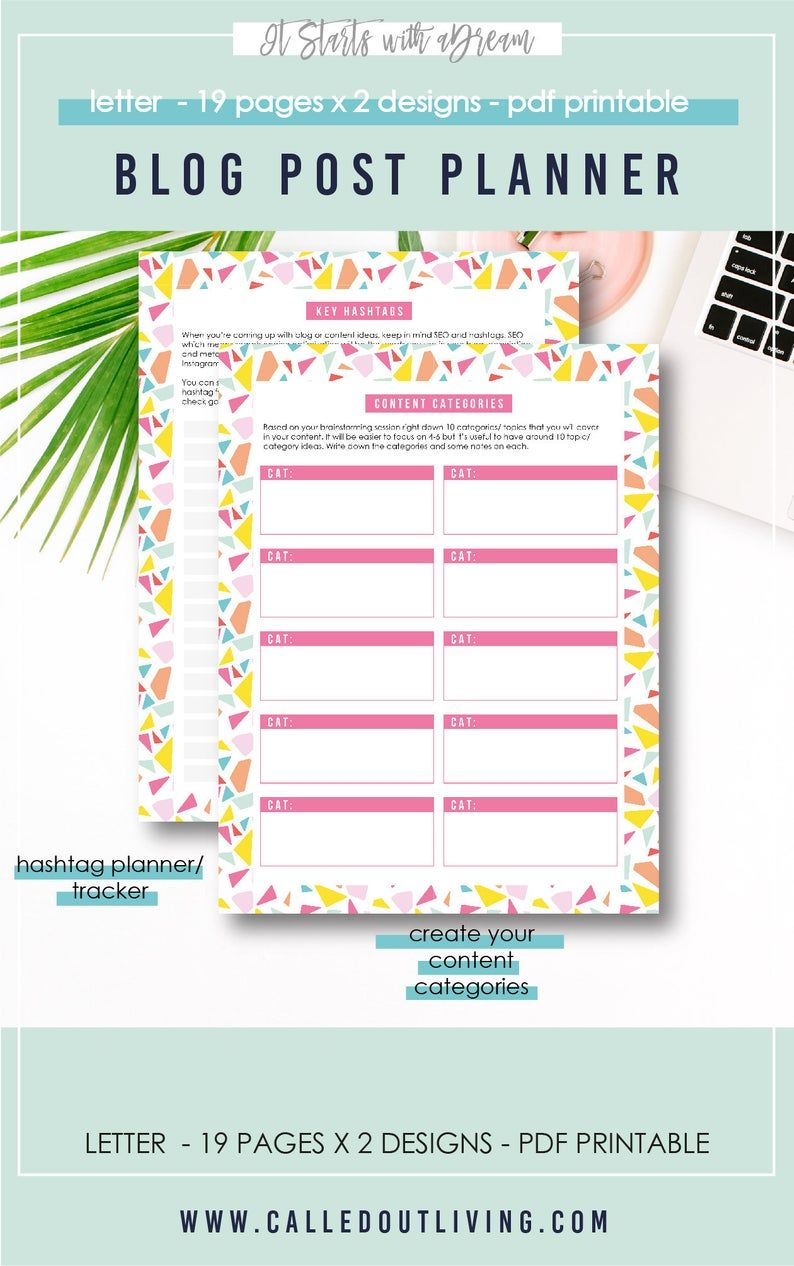 Blog Post Planner Content Creation Printable Planner Blog Post Checklist Blog Post Ideas Blog Content Planner Keyword Planner Printable Blog Posts Planner Planner Blog Planner