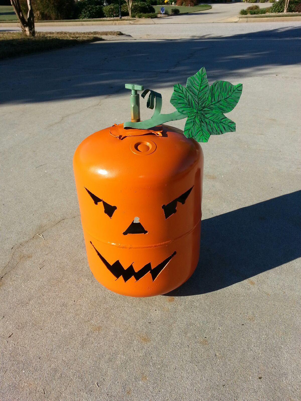 Recycled this r22 jug now its a jack o'lantern. (With