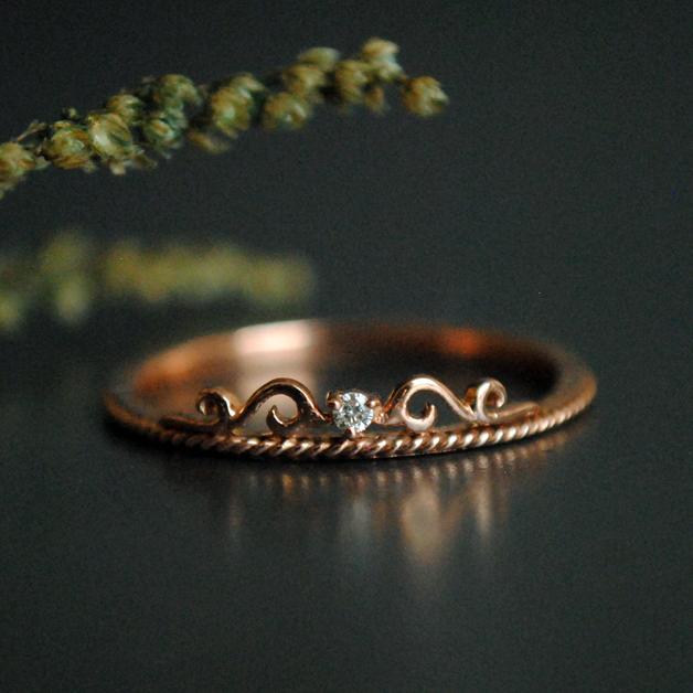 Rose Gold Band Lace Hochzeit Band Filigran Ring Tiara Trauring