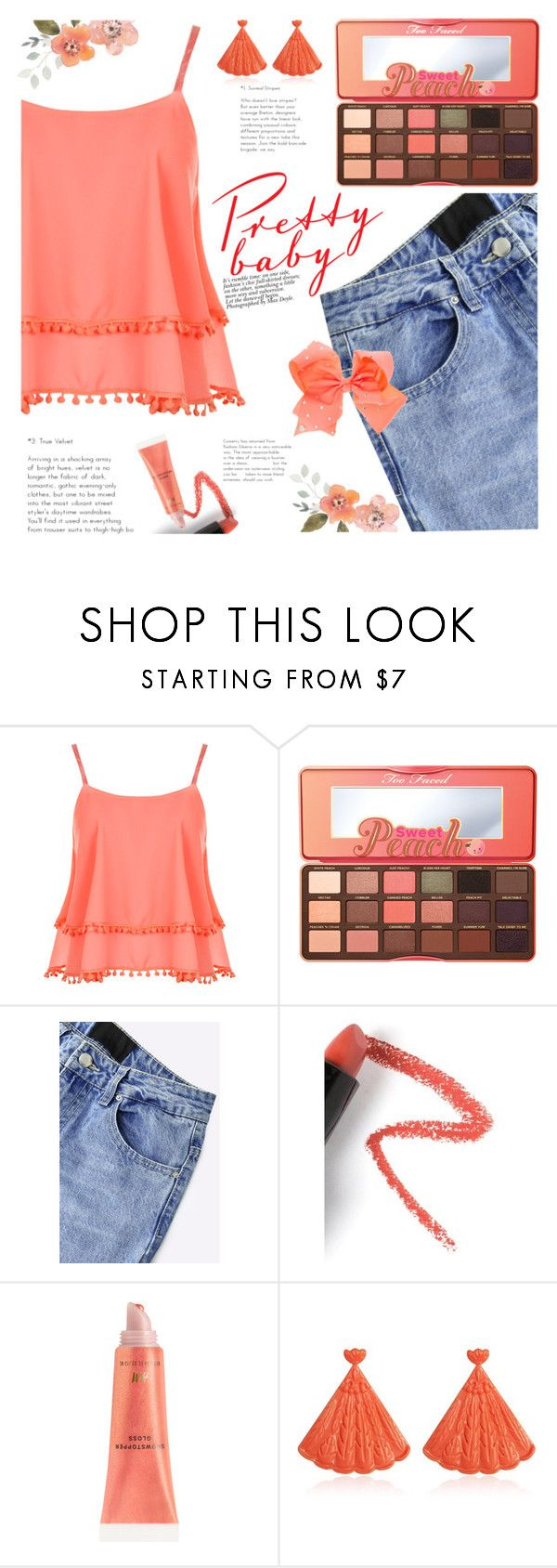 """Pretty Peach"" by izabellmaya ❤ liked on Polyvore featuring WearAll, Too Faced Cosmetics, Lapcos and Mariah Rovery"