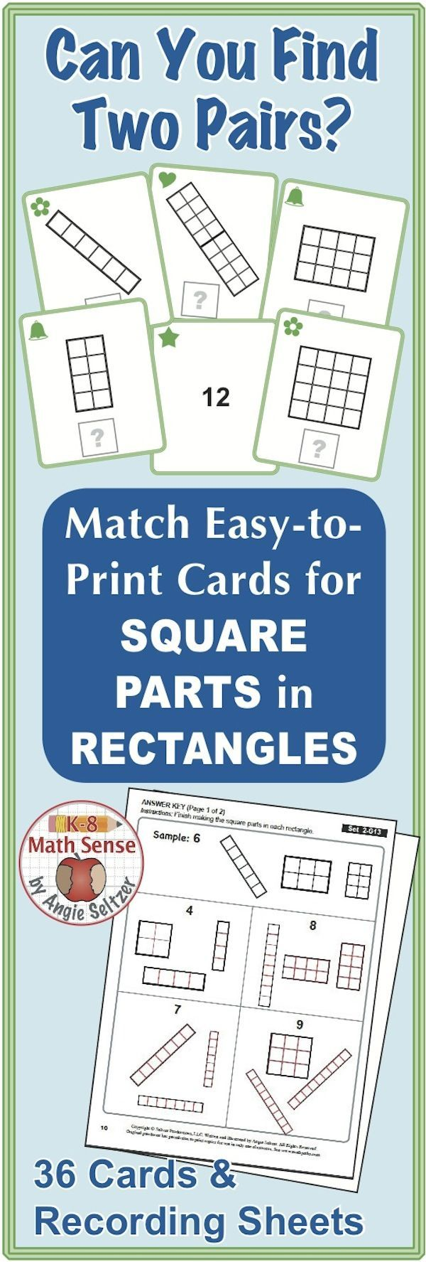 Square Parts in Rectangles: Math Matching Game Cards 2G | My ...