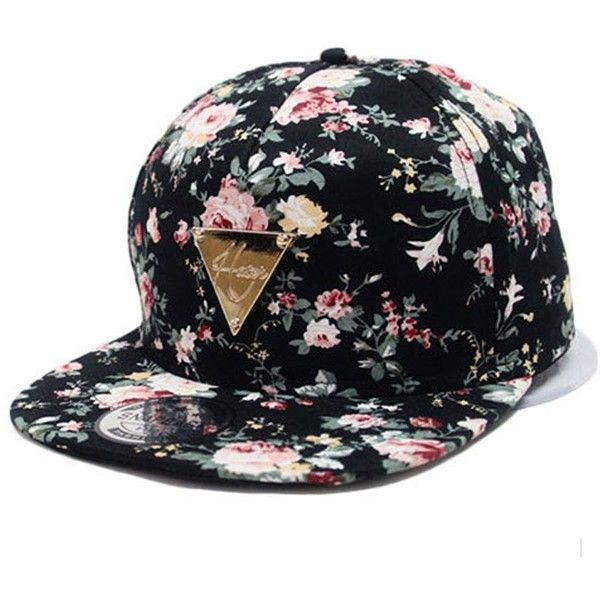 4ef499bebe2 Yonala Fashion Floral Snapback Hip-Hop Hat Flat Peaked Baseball Cap ❤ liked  on Polyvore featuring accessories