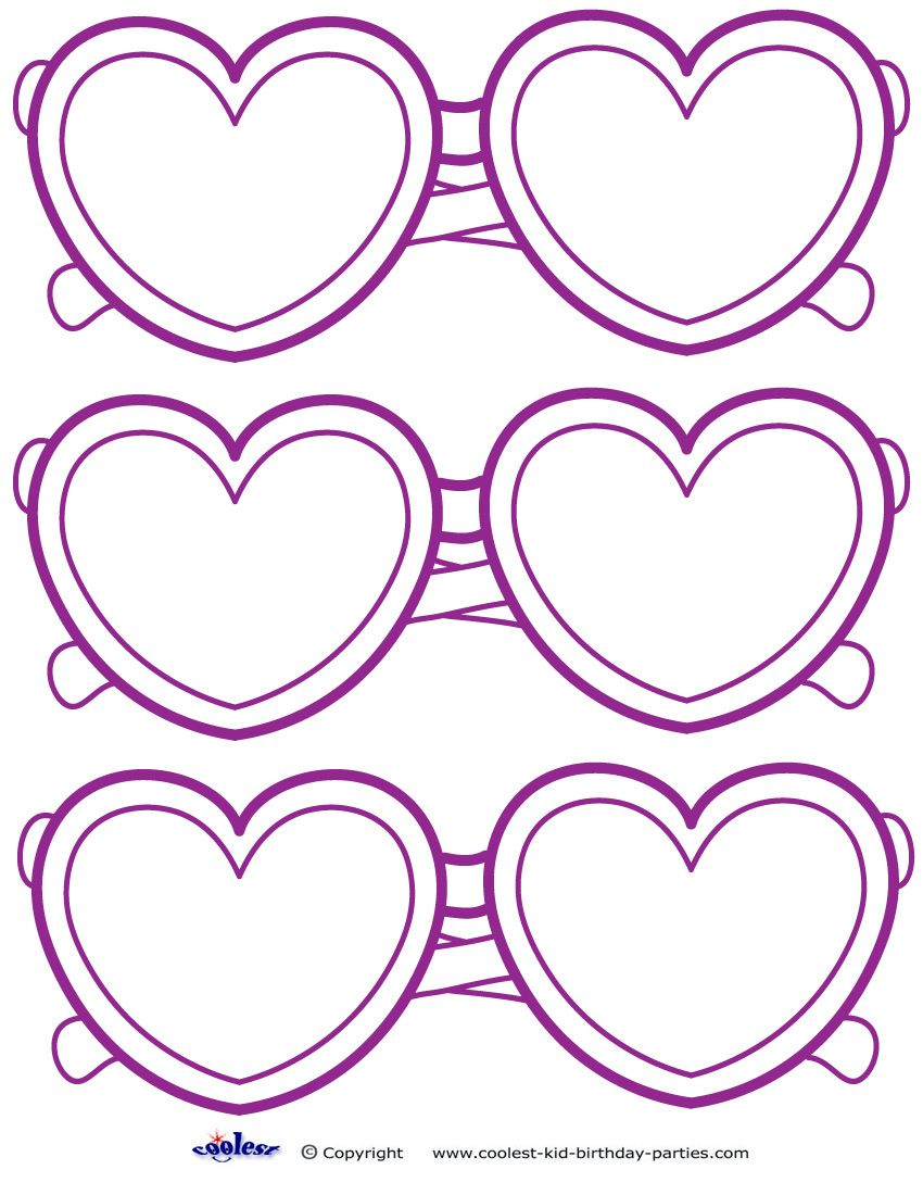 Small Printable HeartShaped Glasses Decoration Heart