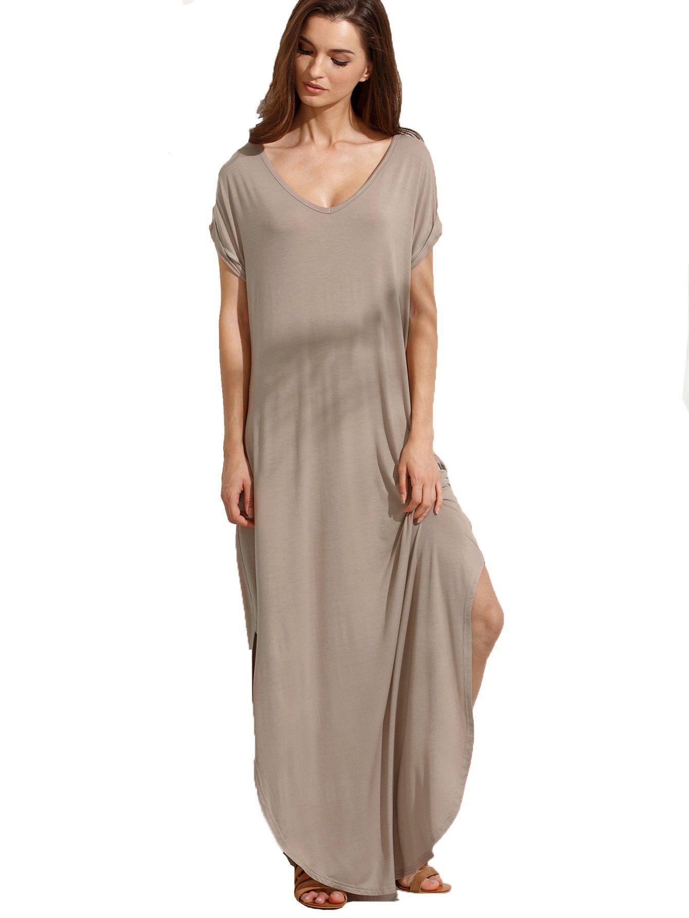 Verdusa womenus casual loose pocket shirt dress split shift long