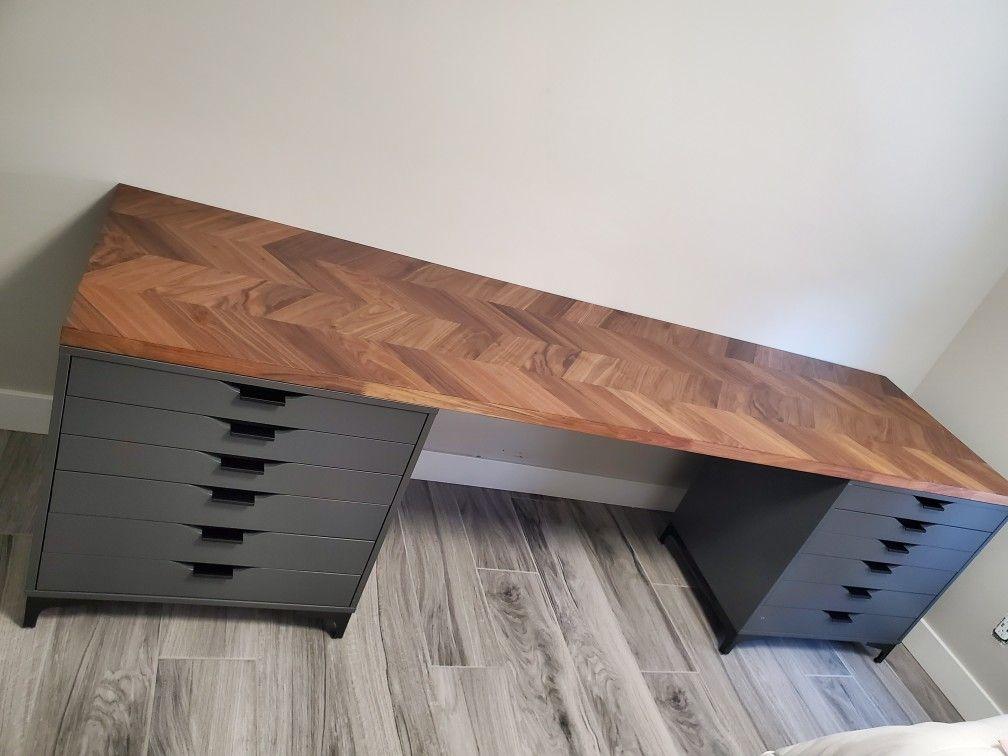 Ikea Desk Hack In 2020 Home Office Setup Ikea Workspace Butcher Block Desk