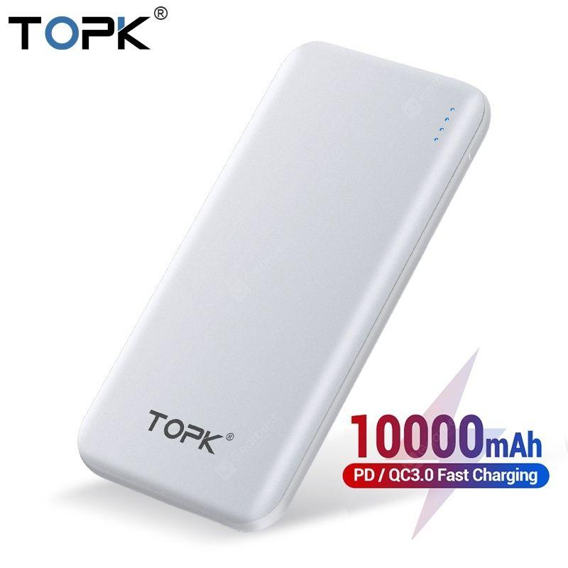 TOPK 10000mAh Power Bank 18W USB Type C External Batteries