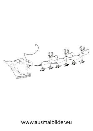 Ausmalbild Weihnachtsmann Mit Schlitten Und Rentiere Ausmalbilder Weihnachtsmann Weihnachtsmann Ausmalen