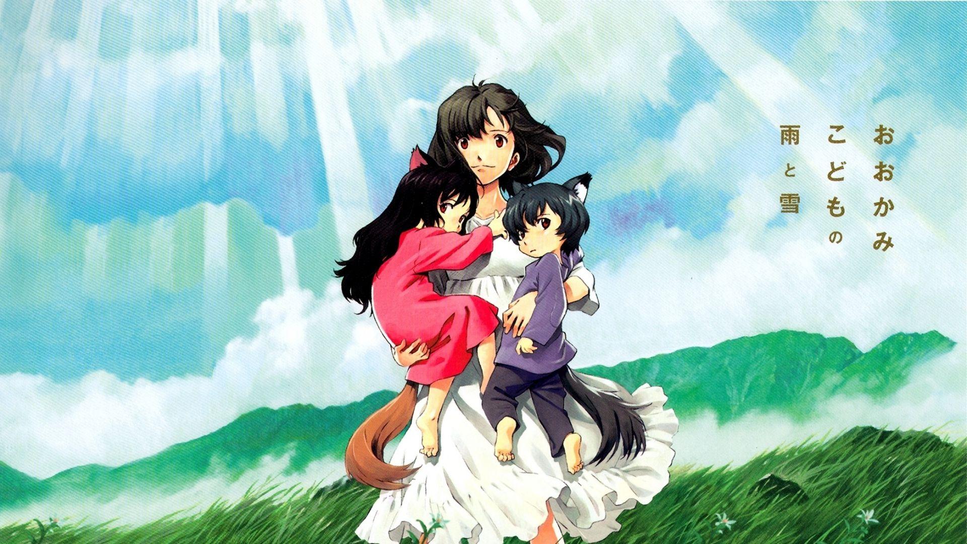 X Wallpaper Wolf Children Ame And Yuki Anime Girl Children Grass