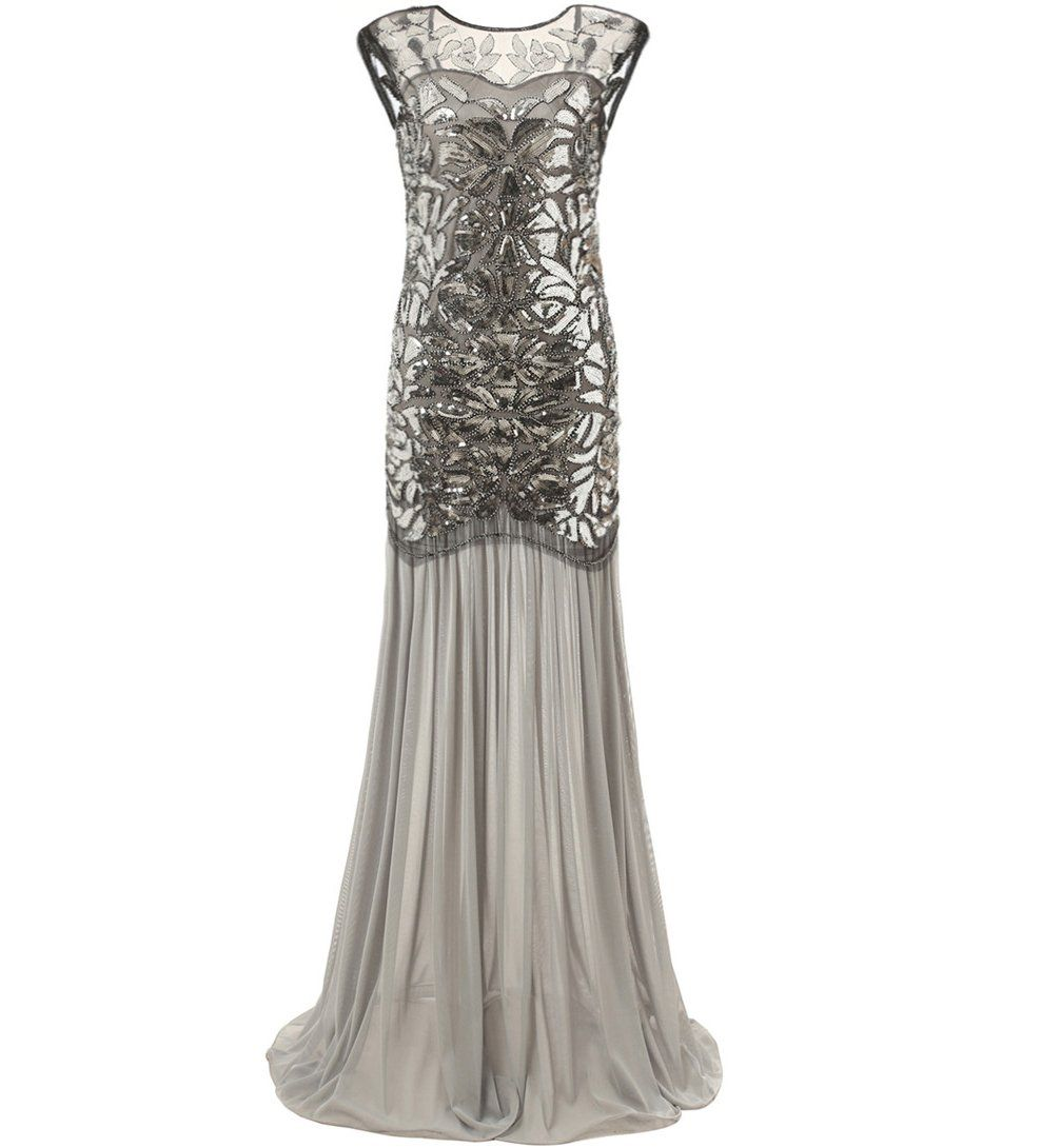 Silver 1920s Dresses Long Great Gatsby Party 20s Inspired Flapper Jaoswish 1920s Inspired Dresses Womens Vintage Dresses Gatsby Party Dress [ 1090 x 1007 Pixel ]