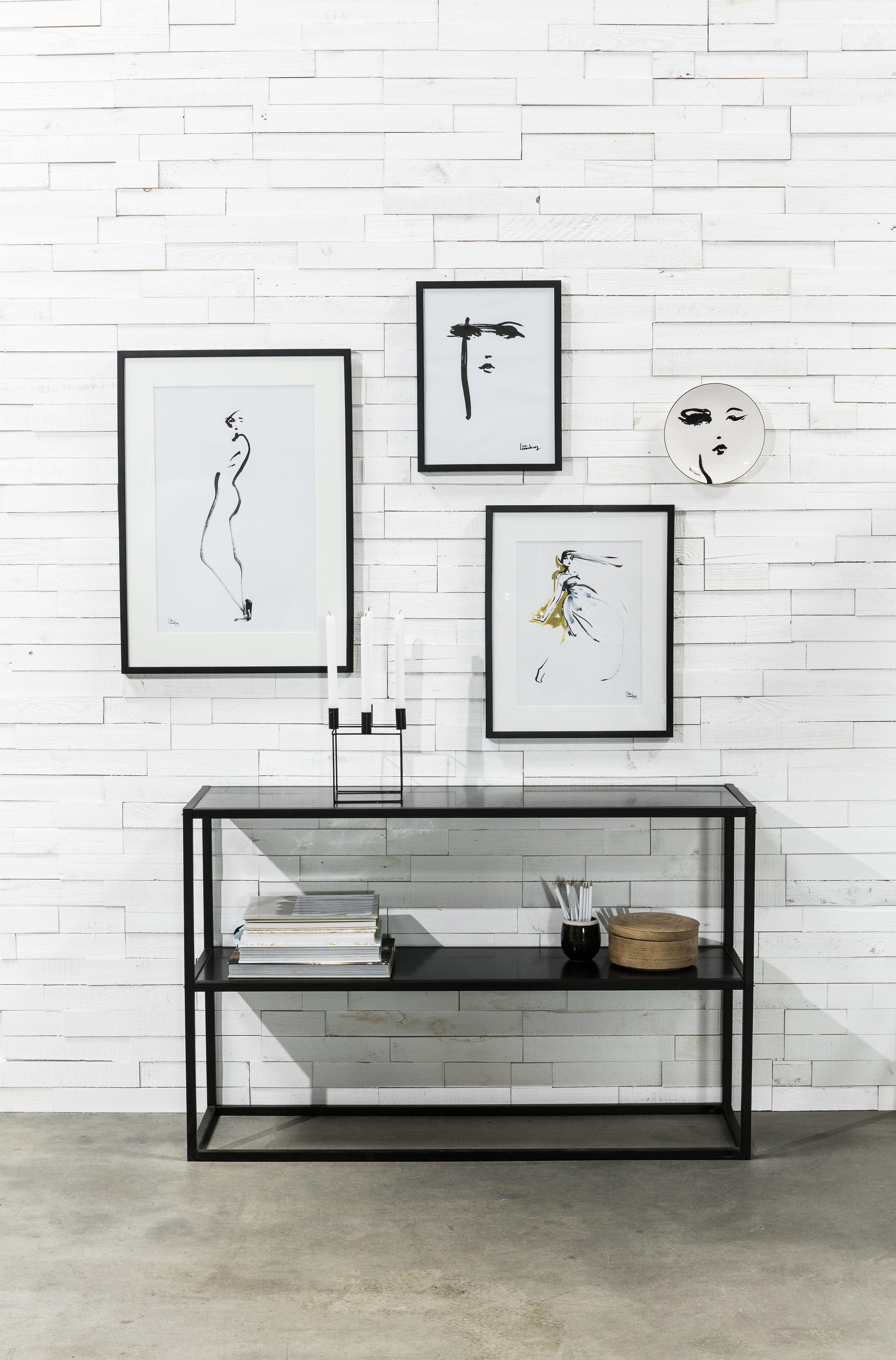 Artist Home Houten Muur Zwarte Bijzettafel Fotowand Wooden Wall