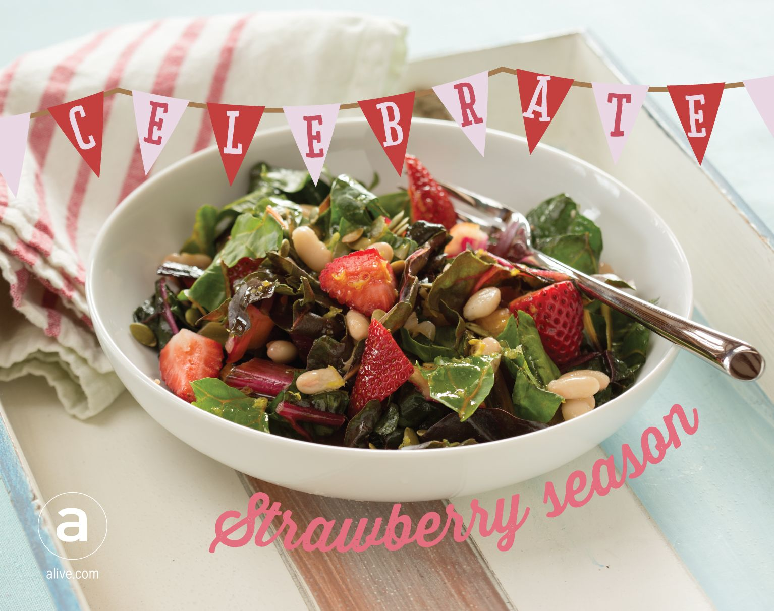 It won't last long, so make this Rainbow #chard and #strawberry #salad ASAP! #alivemagazine #eattherainbow #healthyrecipe #cleaneating #summer #strawberryseason