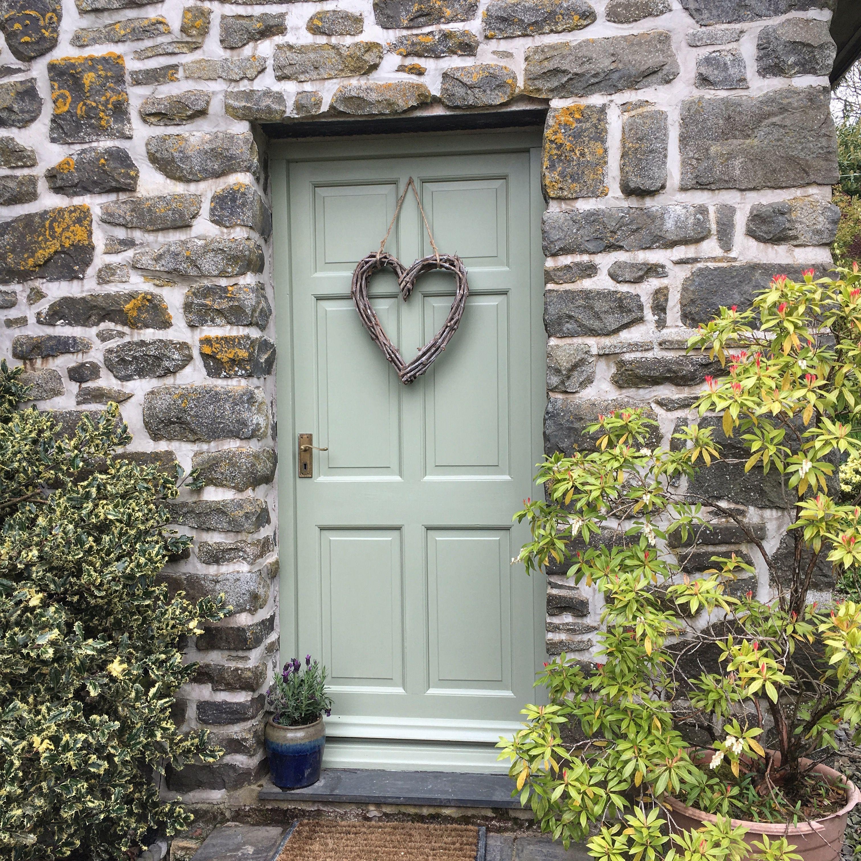 Farmhouse Front Door Lichen By Farrow Ball Top 14 Inspirational Doors Cottage Front Doors Front Door Porch Best Front Door Colors