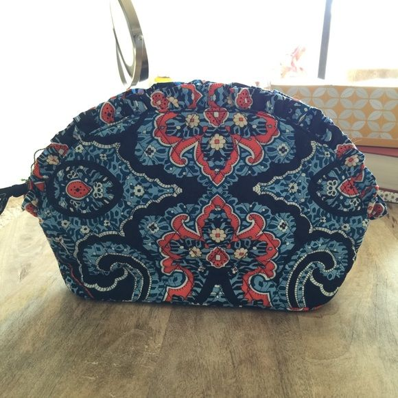 "Vera Bradley large ruffle cosmetic Never used. Large ruffle cosmetic. Print Marrakesh. Dimensions 12 1/2"" W x 7"" H x 3 1/4"" D Vera Bradley Bags Cosmetic Bags & Cases"