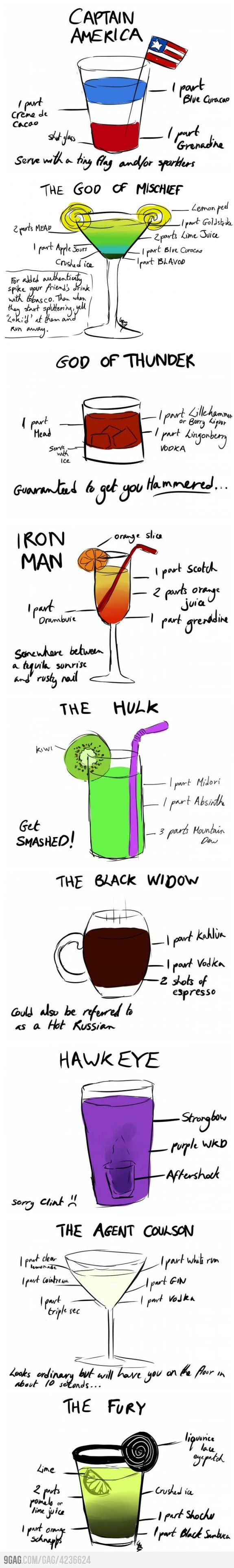 Avengers Cocktails... YESSSSSS!!!! i love it, god of thunder will get you hammered ;)
