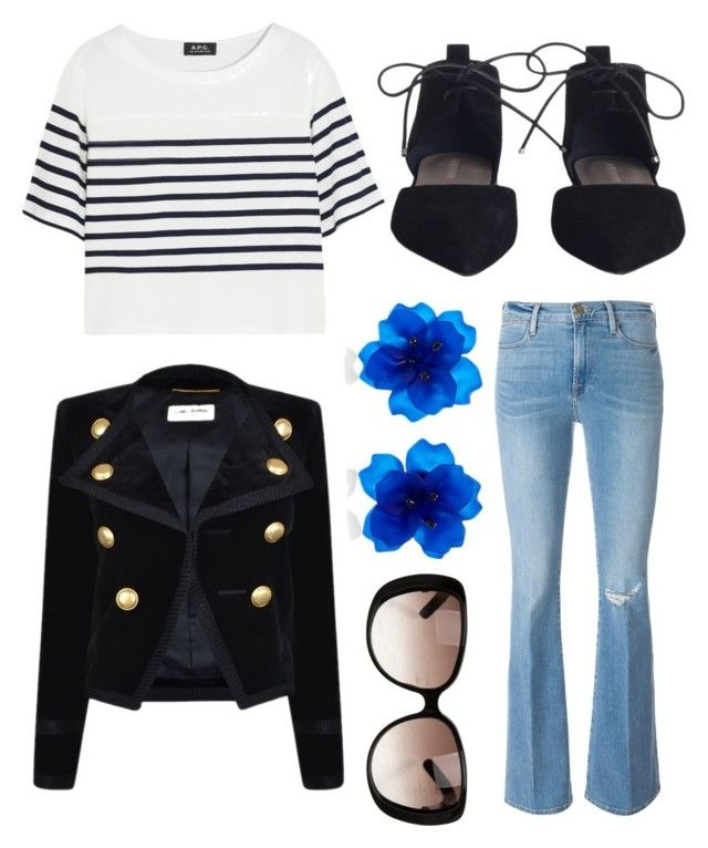 """""""Untitled #7045"""" by ohnadine on Polyvore featuring Frame Denim, A.P.C., Zimmermann, Yves Saint Laurent, Matthew&Melka and Gucci"""