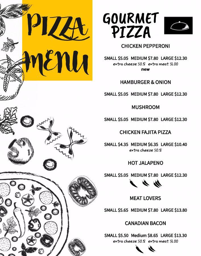 Pizza menu design template Click to customize Menu Templates - a la carte menu template