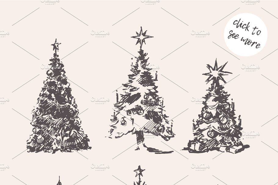 Christmas Sketches.Sketches Of Christmas Trees Christmas Sketches
