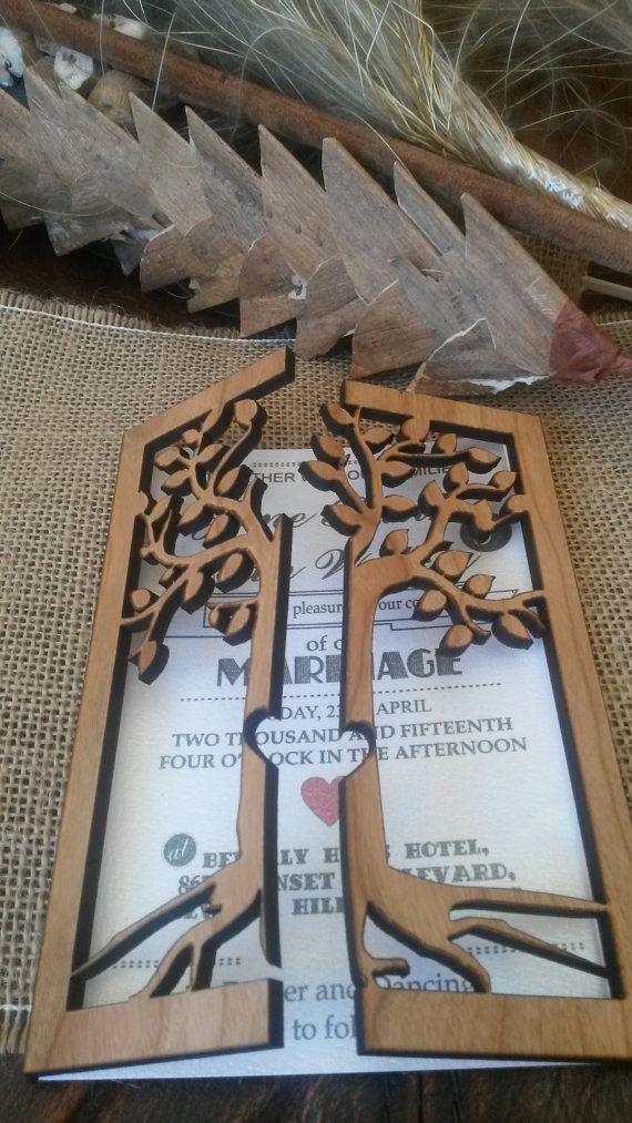 Cherry Wood Engraved Wedding Invitation Rustic Handmade