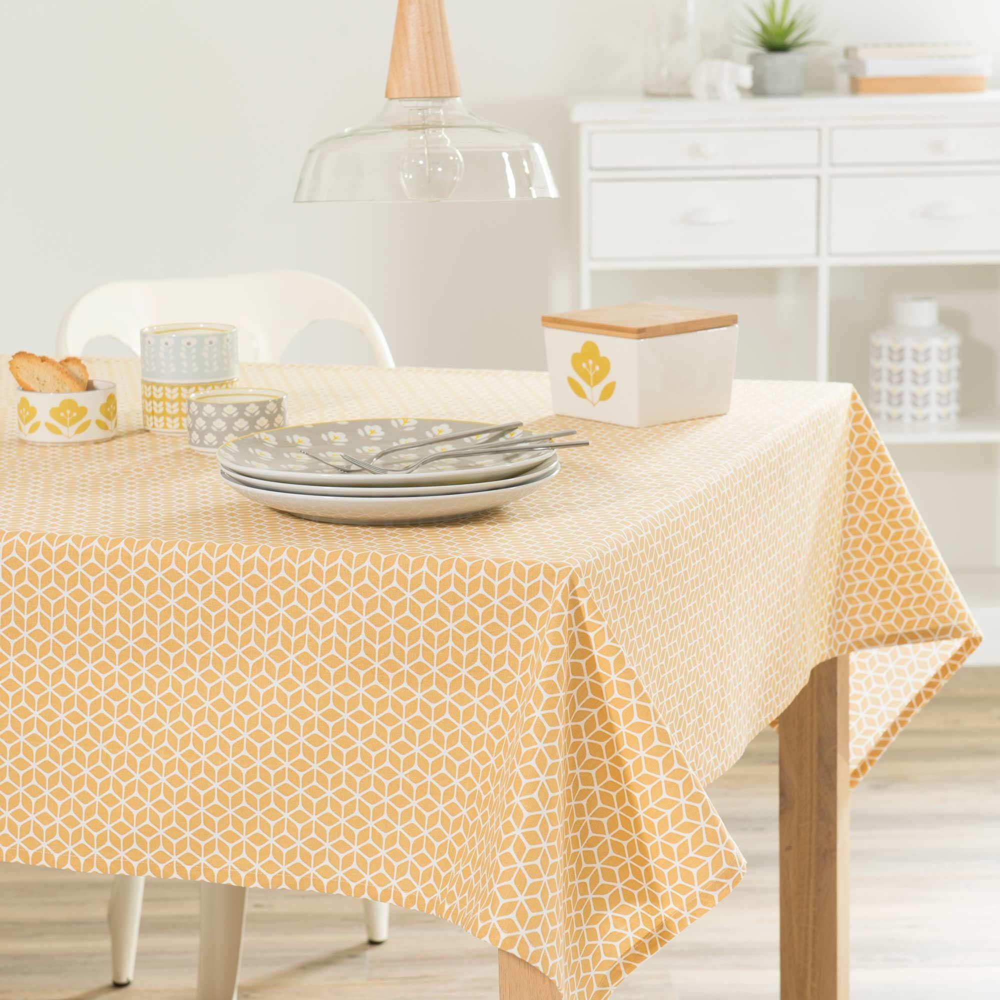 nappe en coton jaune 150 x 250 cm vintage maisons du monde presque nappe moutarde. Black Bedroom Furniture Sets. Home Design Ideas