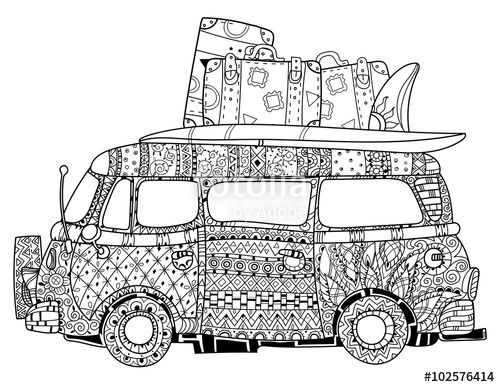 VW Kombi doodle retro bus zentangle Boho style designed by yazzik on ...