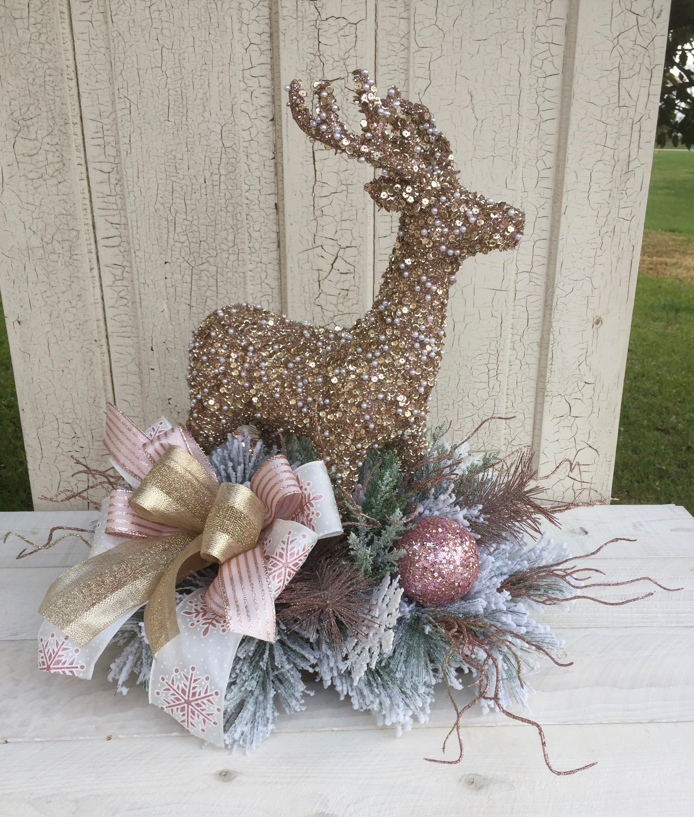 Winter Deer Centerpiece Deer Centerpiece Floral Deer Centerpiece Table Decor Christmas Deer Centerpiece Christmas Deer Arrangement Christmas Floral Christmas Decor Diy Christmas Arrangements Centerpieces